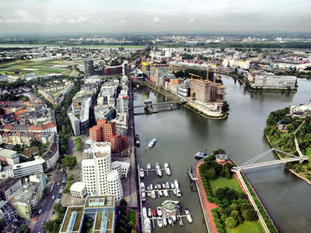 View of Mediahafen harbour in Duesseldorf, Germany - high dynamic range HDR 版權商用圖片