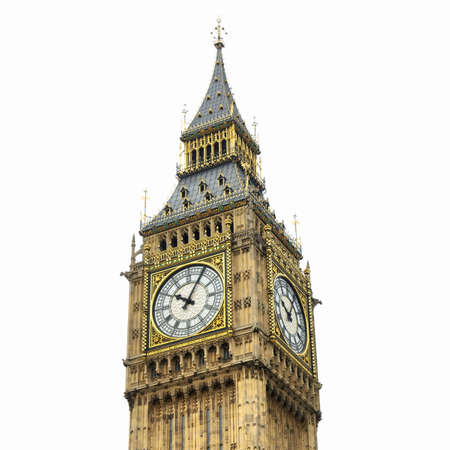 Big Ben, Houses of Parliament, Westminster Palace, London gothic architecture - isolated over white background - high dynamic range HDR 版權商用圖片