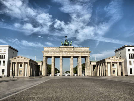 brandenburg: Brandenburger Tor (Brandenburg Gate), famous landmark in Berlin, Germany - high dynamic range HDR Stock Photo