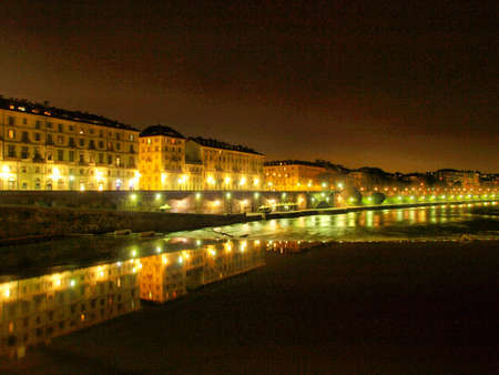 Fiume Po (River Po) in Turin, Italy - at night - high dynamic range HDR Stock Photo - 7558249