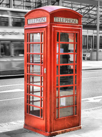 Traditional red telephone box in London, UK Stock Photo - 7558219