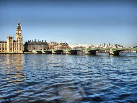 Westminster bridge panorama view in London, UK - high dynamic range HDR photo