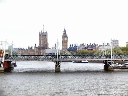 Panoramic view of River Thames, London, UK - high dynamic range HDR photo