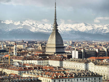 mole: City of Turin (Torino) skyline panorama seen from the hill - high dynamic range HDR