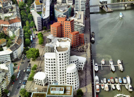 View of Mediahafen harbour in Duesseldorf, Germany - high dynamic range HDR Stock Photo