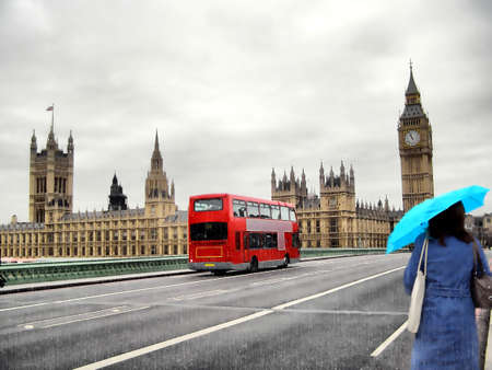 palace of westminster: Illustration of rainy day at the Houses of Parliament with red bus and blue girl, London, UK