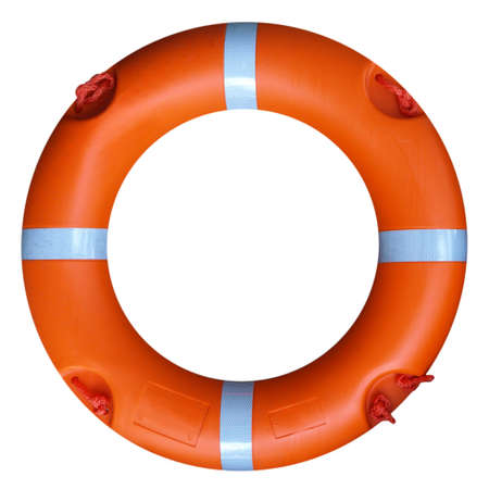 A life buoy for safety at sea - isolated over white background Stock Photo - 7601292