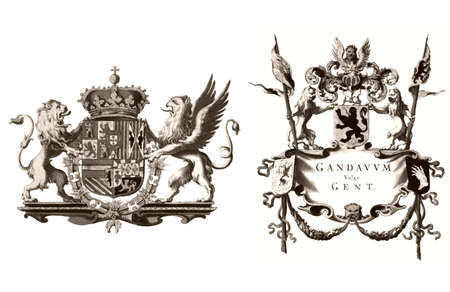 belgique: Coat of Arms flag of the town of Gent (Ghent), Belgium