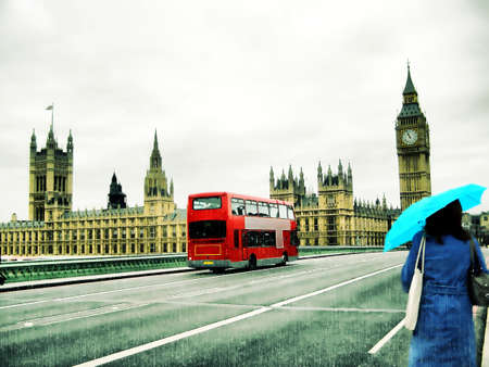 Illustration of rainy day at the Houses of Parliament with red bus and blue girl, London, UK illustration