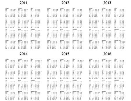 Multi year calendar 2011 2012 2013 2014 2015 2016