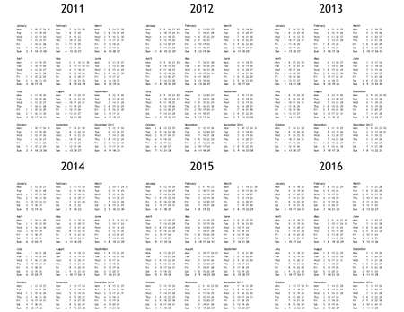 multi year calendar 2011 2012 2013 2014 2015 2016 stock photo