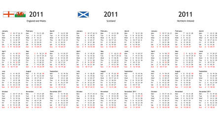 UK 2011 calendar with local national bank holidays for England Wales Scotland Northern Ireland photo