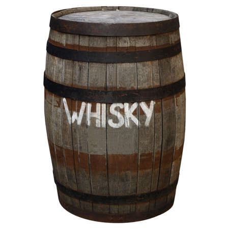 Old wooden barrel cask for whisky or beer or wine - isolated over white background