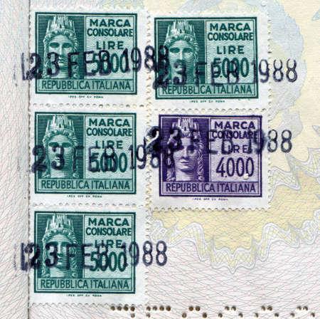consulate: ITALY - CIRCA 1988: Italian consular stamp (Marca consolare italiana) on a passport circa 1988 in Italy Stock Photo