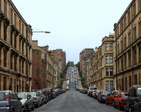 Gardner Street, the steepest road on Glasgow hills 版權商用圖片 - 8011265