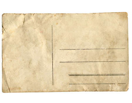 postcard: A blank postcard useful as a background - isolated over white background Stock Photo