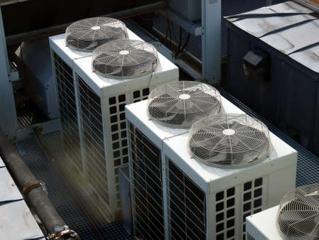 Ventilation: An heating ventilation and air conditioning device Stock Photo