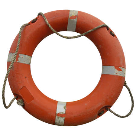 bata blanca: Una boya de vida para la seguridad en el mar - aislado sobre fondo blanco