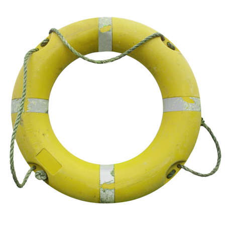 A life buoy for safety at sea - isolated over white background photo
