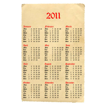 Calendar of year 2011 with ancient gothic font photo