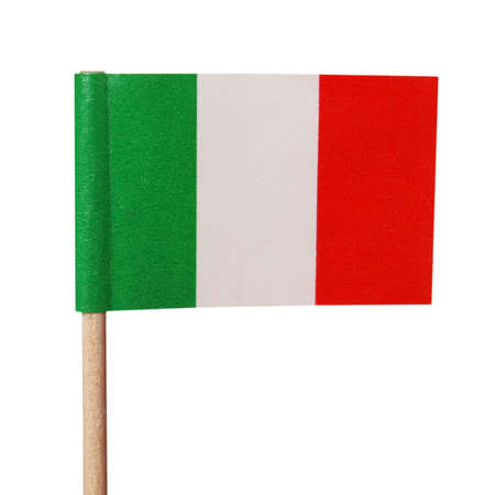 The national Italian flag of Italy (IT) - isolated over white background photo