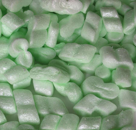 Polystyrene beads used for protective package insulation Stock Photo