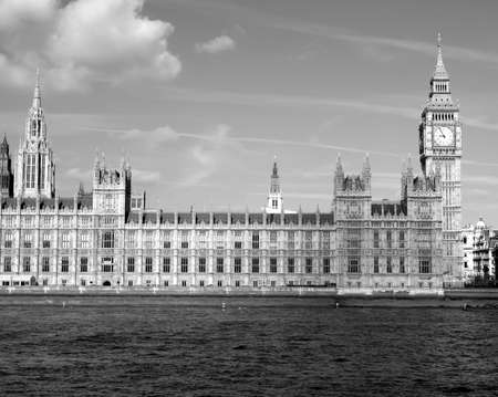Houses of Parliament, Westminster Palace, London gothic architecture - high dynamic range HDR - black and white photo