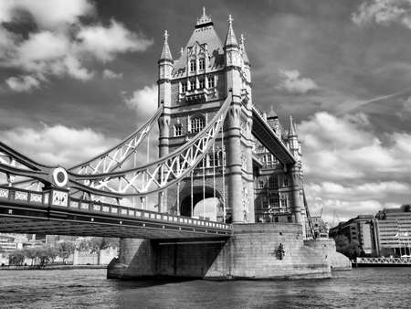 Tower Bridge on River Thames, London, UK - high dynamic range HDR - black and white