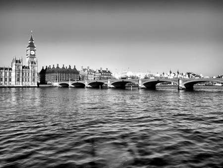 Westminster bridge panorama view in London, UK - high dynamic range HDR - black and white photo