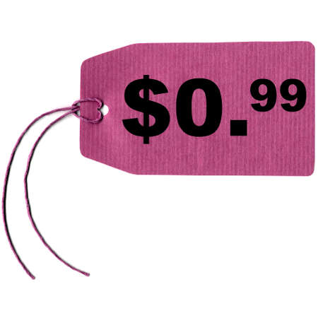 merchandize: Price tag label with string isolated over white, 0.99 dollar cent