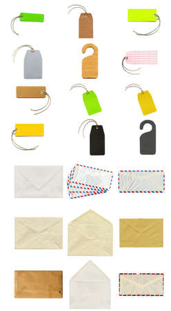 Collage of stationery items including labels, tags, envelopes and postcards photo