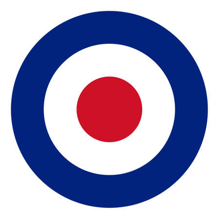 raf: Roundel flag of the British Royal Air Force RAF - isolated over white background Stock Photo