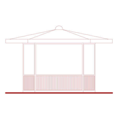 alfresco: Architectural drawing of a kiosk or alfresco bar dehors (based on my own drawings) Stock Photo