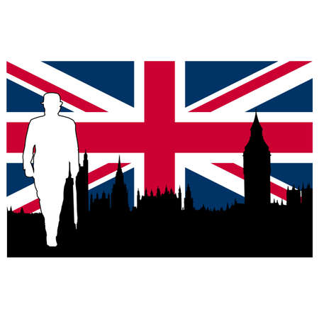 British symbols including Big Ben, Union Jack UK flag, British man Stock Photo - 8583272