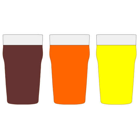 bitter: Pints of beer including stout bitter and lager