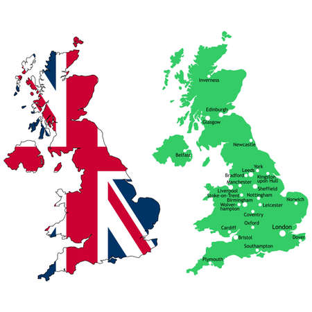 united kingdom: Map of the UK with union jack flag and major towns