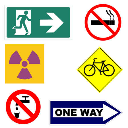 no way out: Signs including way out fire exit, no smoking, caution radiation area, bike lane, one way