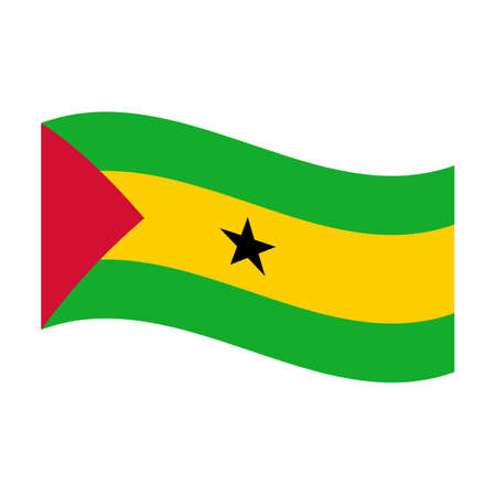 tome: Illustration of the national flag of sao tome and principe floating Stock Photo