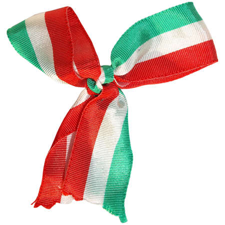 The national flag on a cockade isolated over white background - Italy - Mexico