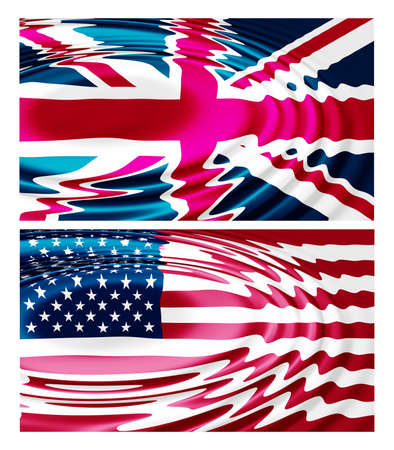 Illustration of the national flag - rippled water waves ripples - United Kingdom - United States illustration