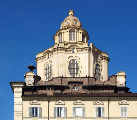 The church of San Lorenzo, Turin, Italy - rectilinear frontal view photo