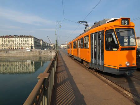 Public transport tramway on a bridge over River Po in Turin, Piedmont, Italy