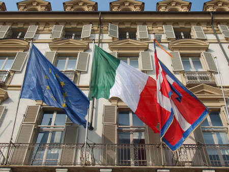 Flags of Europe (European Union), Italy and Piedmont