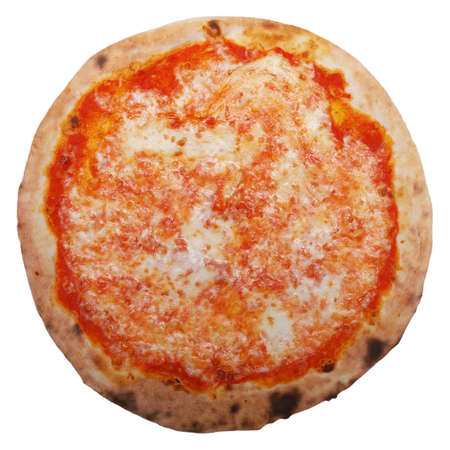 Italian Pizza Margherita (Margarita) with tomato and Mozzarella cheese - isolated over a white background Фото со стока