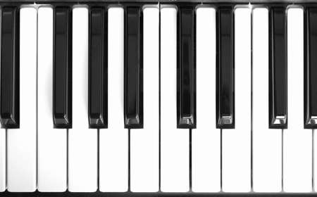 Detail of black and white keys on music keyboard