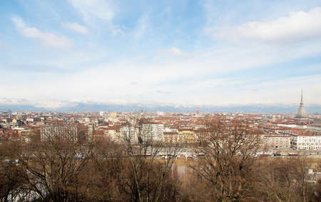 City of Turin (Torino) skyline panorama seen from the hill - wide angle photo