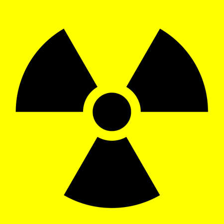 The international radiation warning symbol known as trefoil photo