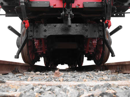 Detail of ancient steam train locomotive vehicle photo