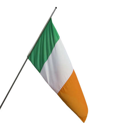 The national Irish flag of Ireland (IE) - isolated over white background Stock Photo - 9217113