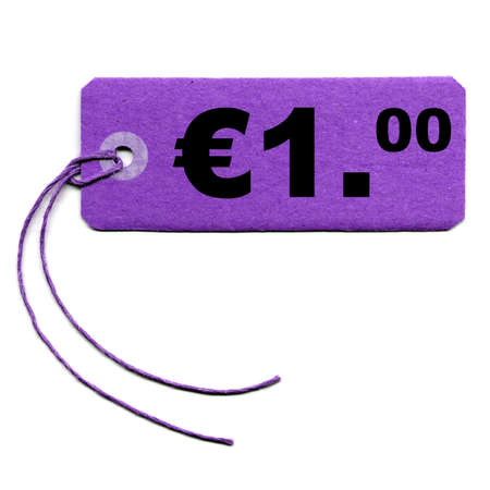 merchandize: Price tag with string isolated over white - 1 Euro Stock Photo